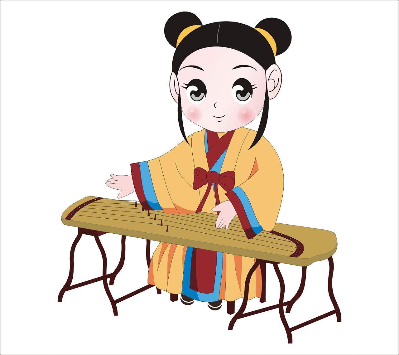 古代 古典 女童 女孩古装 可爱 弹古筝图片