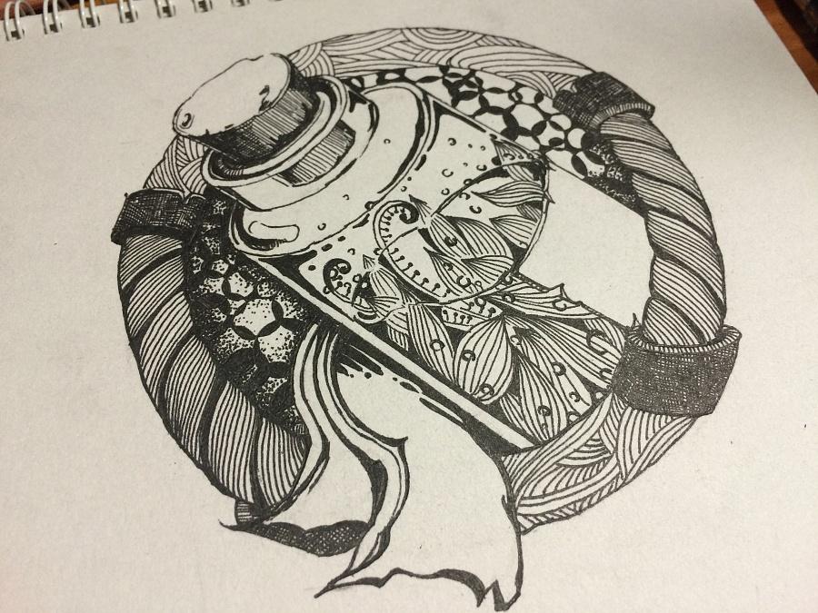 手绘黑白线描游戏图标(药水)