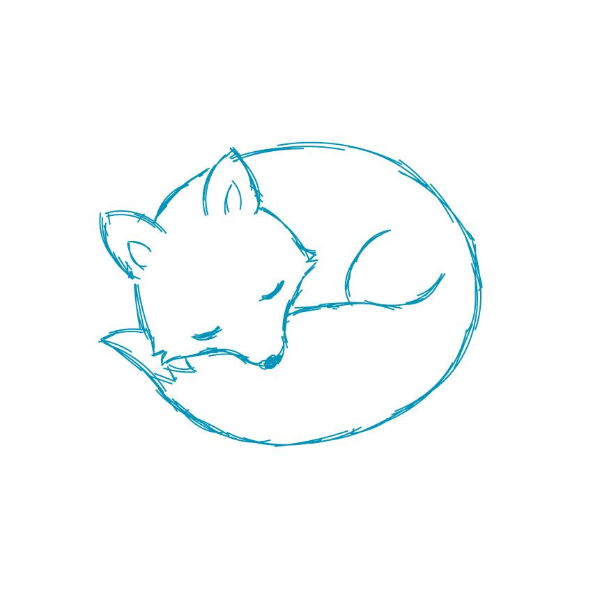 手绘狐狸简笔画