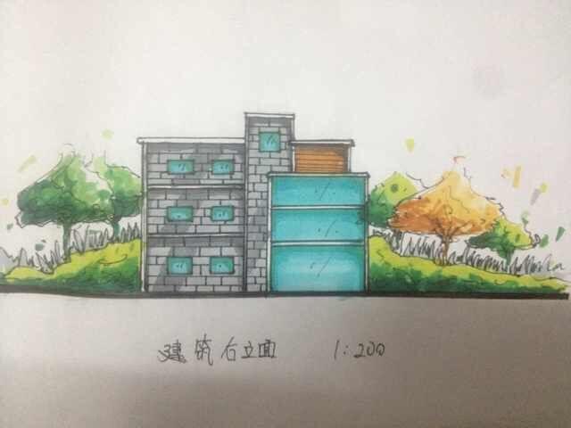 手绘建筑立面图