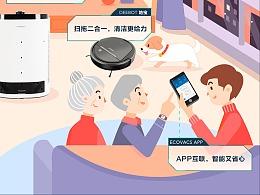 科沃斯品牌合作新年宣传图 商业插画
