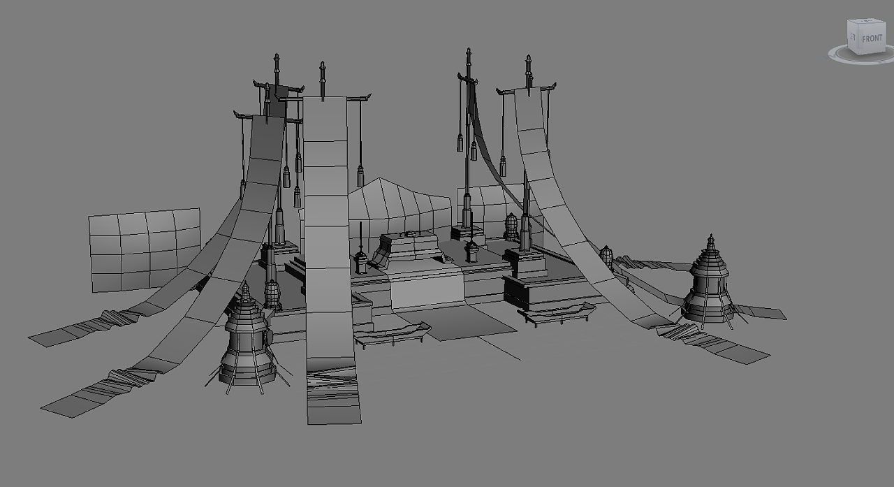 最近的两个游戏场景手绘低模练习|三维|场景|拥有高