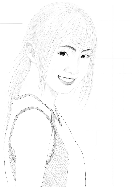 女生素描|插画|商业插画|ch