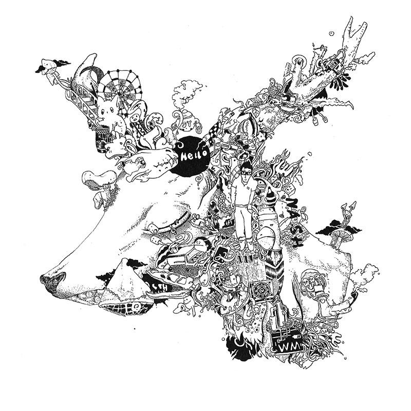 神兽/黑白画/鹿/鹰|商业插画|插画|nash欢图片