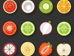 日常图标练习:水果蔬菜扁平ICON