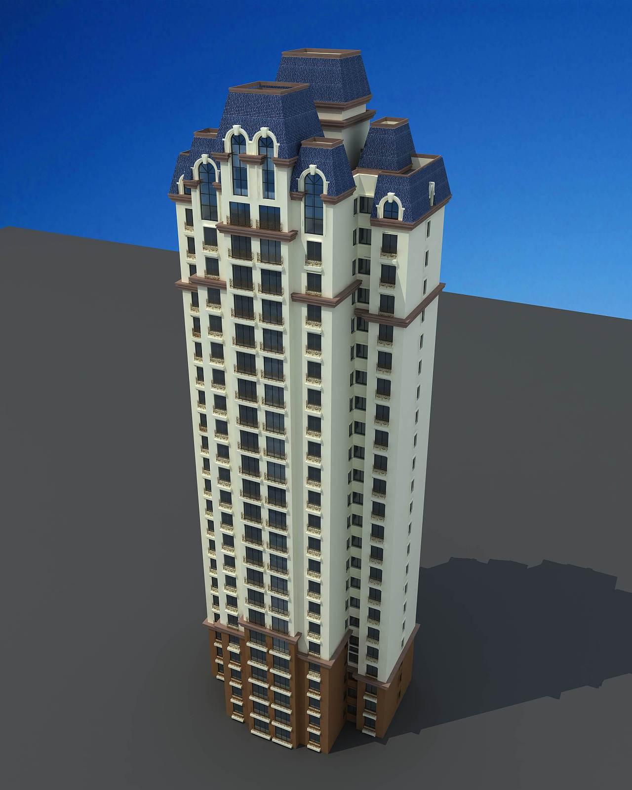 法式建筑单体透视