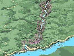 山地景区手绘导览图