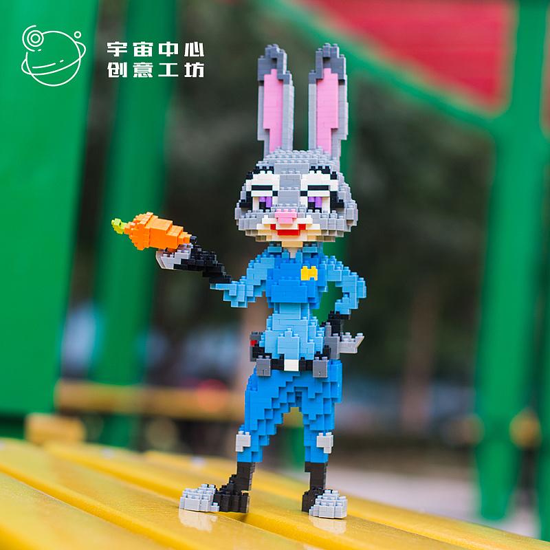 a颗粒颗粒城兔朱迪微动物积木造型设计绿色毛绒玩具图片