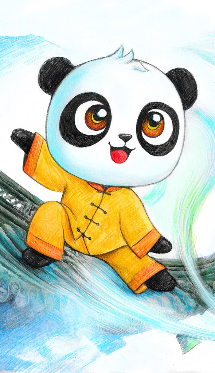 都江堰明信片画稿《太极熊猫》