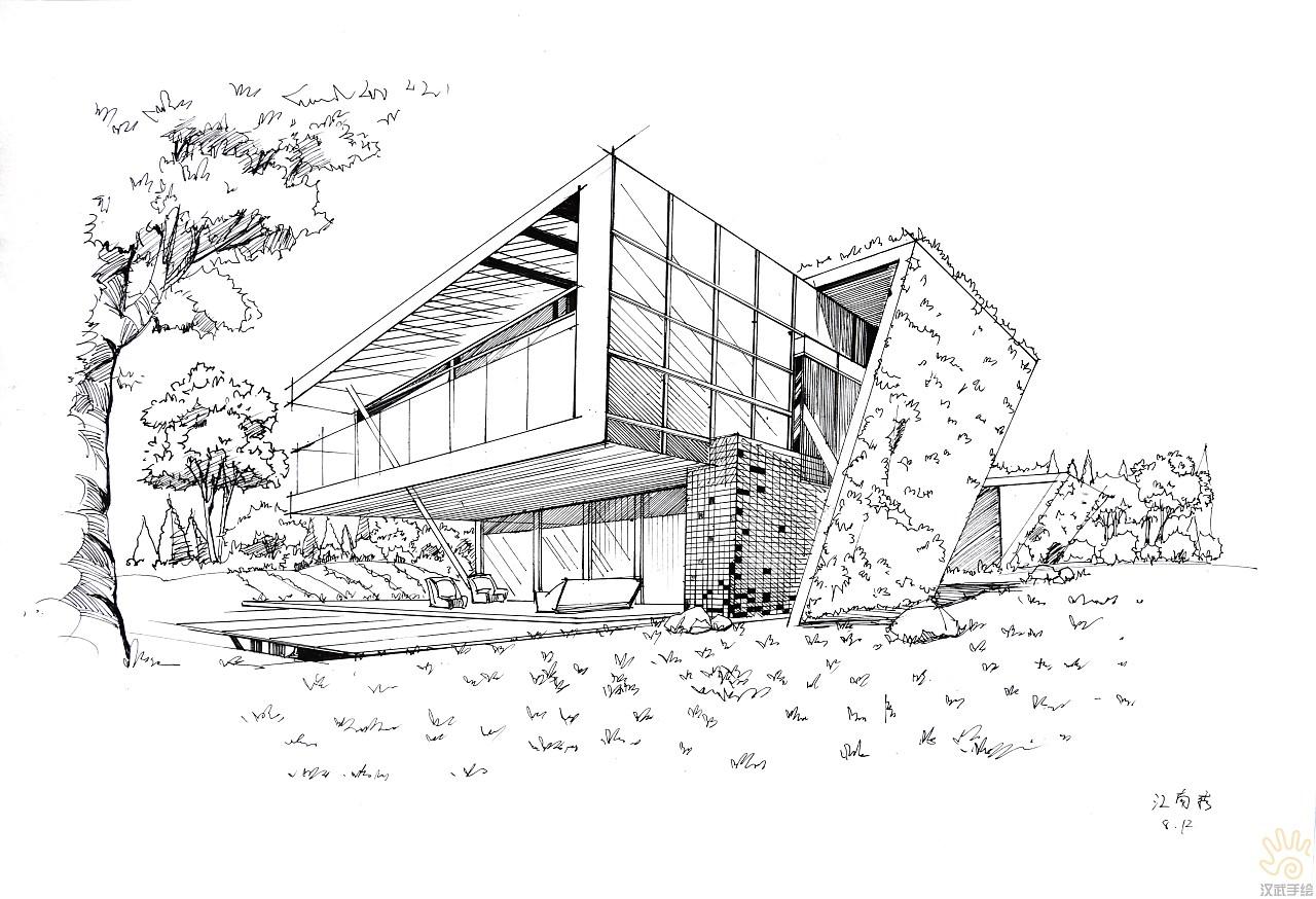 环境景观建筑手绘效果图线稿图|空间|景观设计|汉武图片