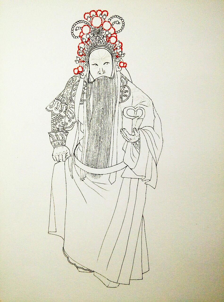 手绘作品京剧演员