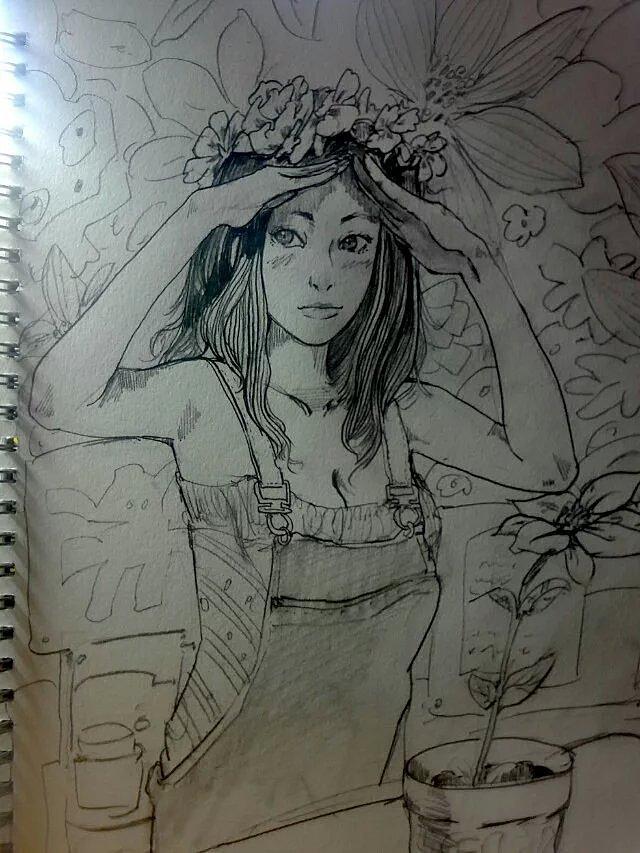 铅笔手绘|动漫|肖像漫画|滑翔的千 - 原创作品 - 站酷