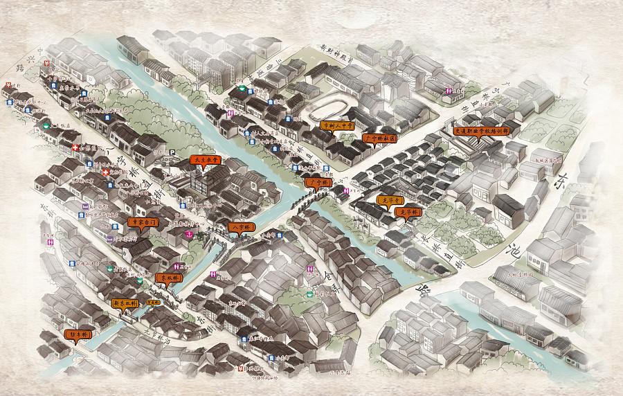 绍兴旅游景区手绘图 八字桥旅游地图 越子城历史街区