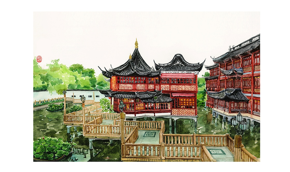 手绘城市系列——《上海》