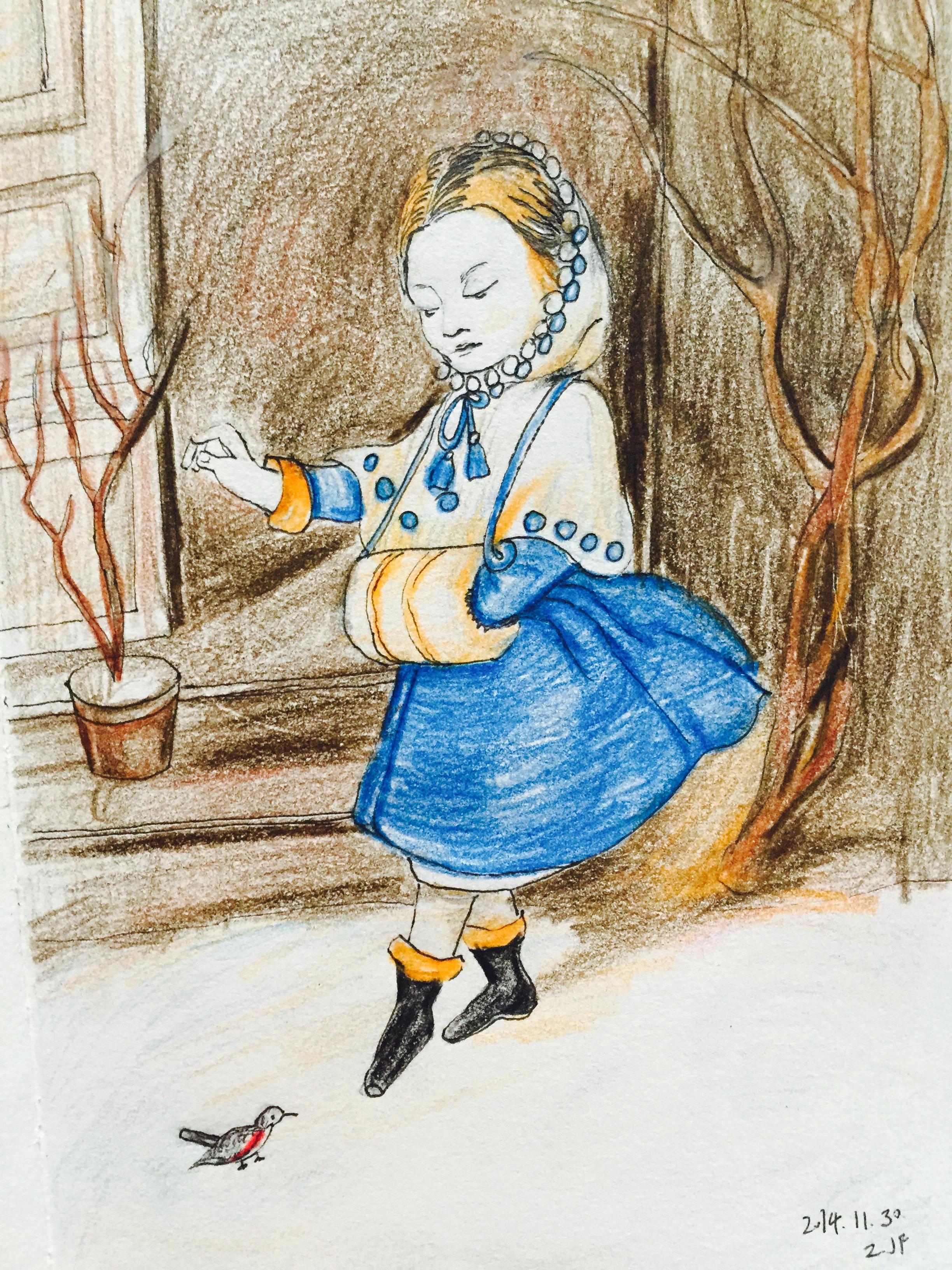 手绘彩铅冬日女孩儿