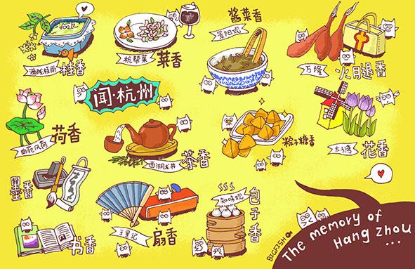 《杭州味道》系列手绘明信片