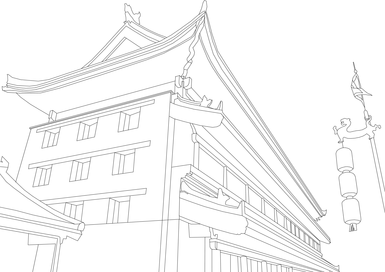 西安风景手绘线稿