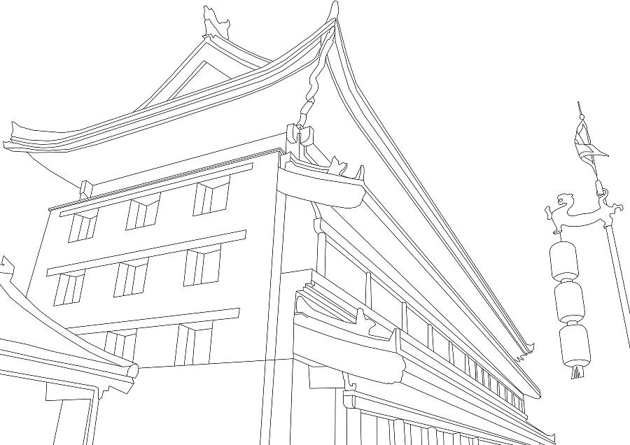 世界名胜古迹线稿|商业插画|插画|billowlan - 原创 -图片