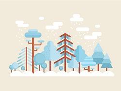 平面矢量设计元素-如何制作冬季场景插画