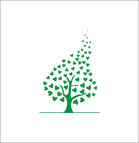由心形变形成的一棵许愿树,整体像个心形,图形有大有小,有松有紧.