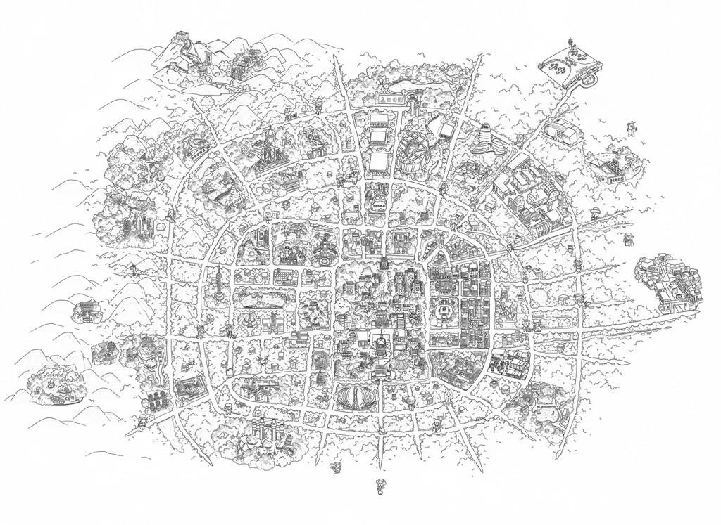 北京手绘地图,线稿,之前发的是老北京城二环,此图已到京郊,头三次来