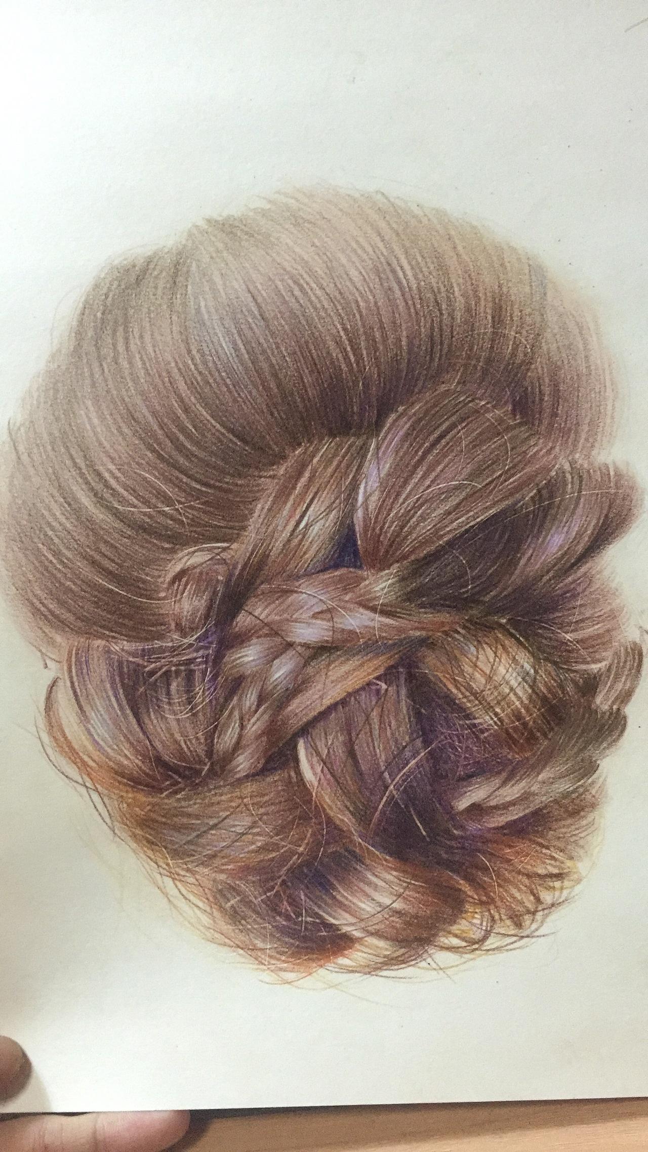两种头发的画法带步骤图|纯艺术|彩铅|mucha徐 - 原创图片