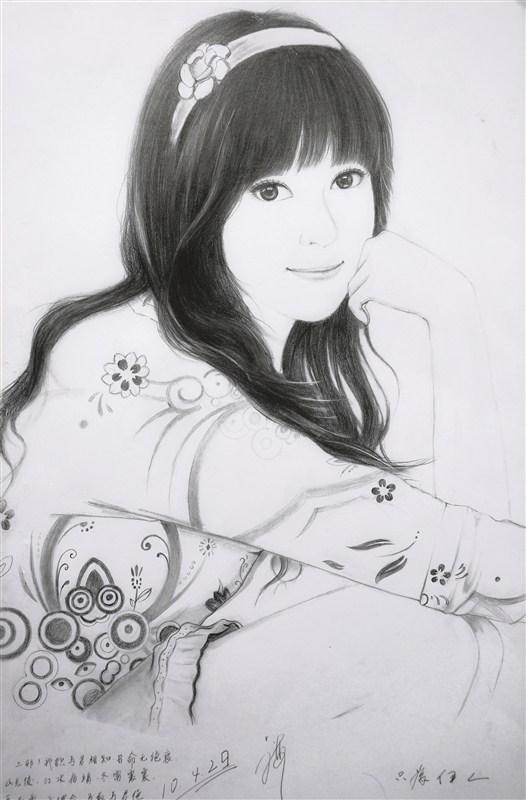 手绘铅笔素描美女高清图片