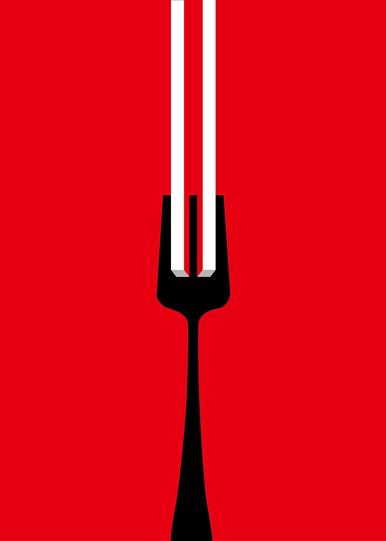 学图形创意的时候,做了一幅创意图,东方的筷子和西方的叉子