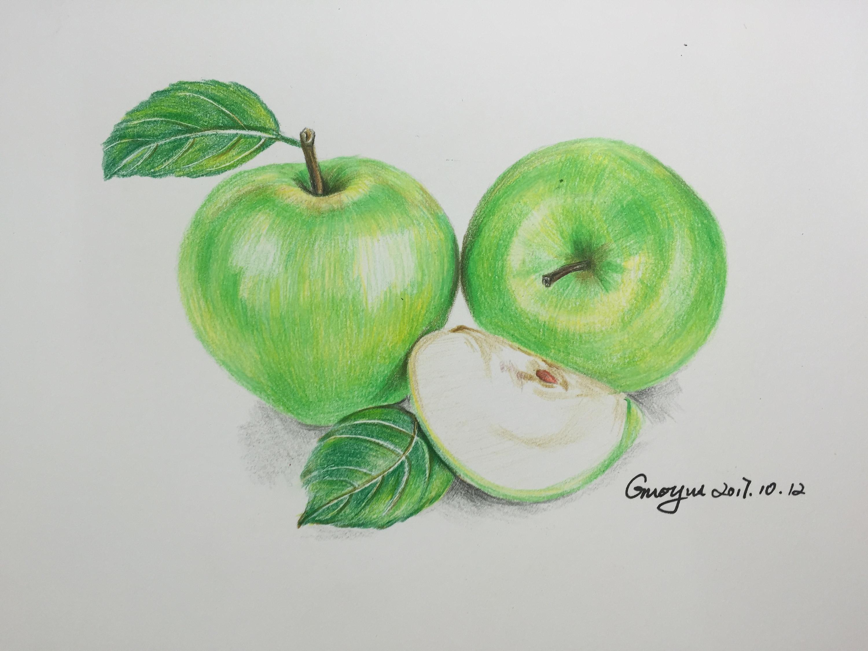青苹果彩铅手绘