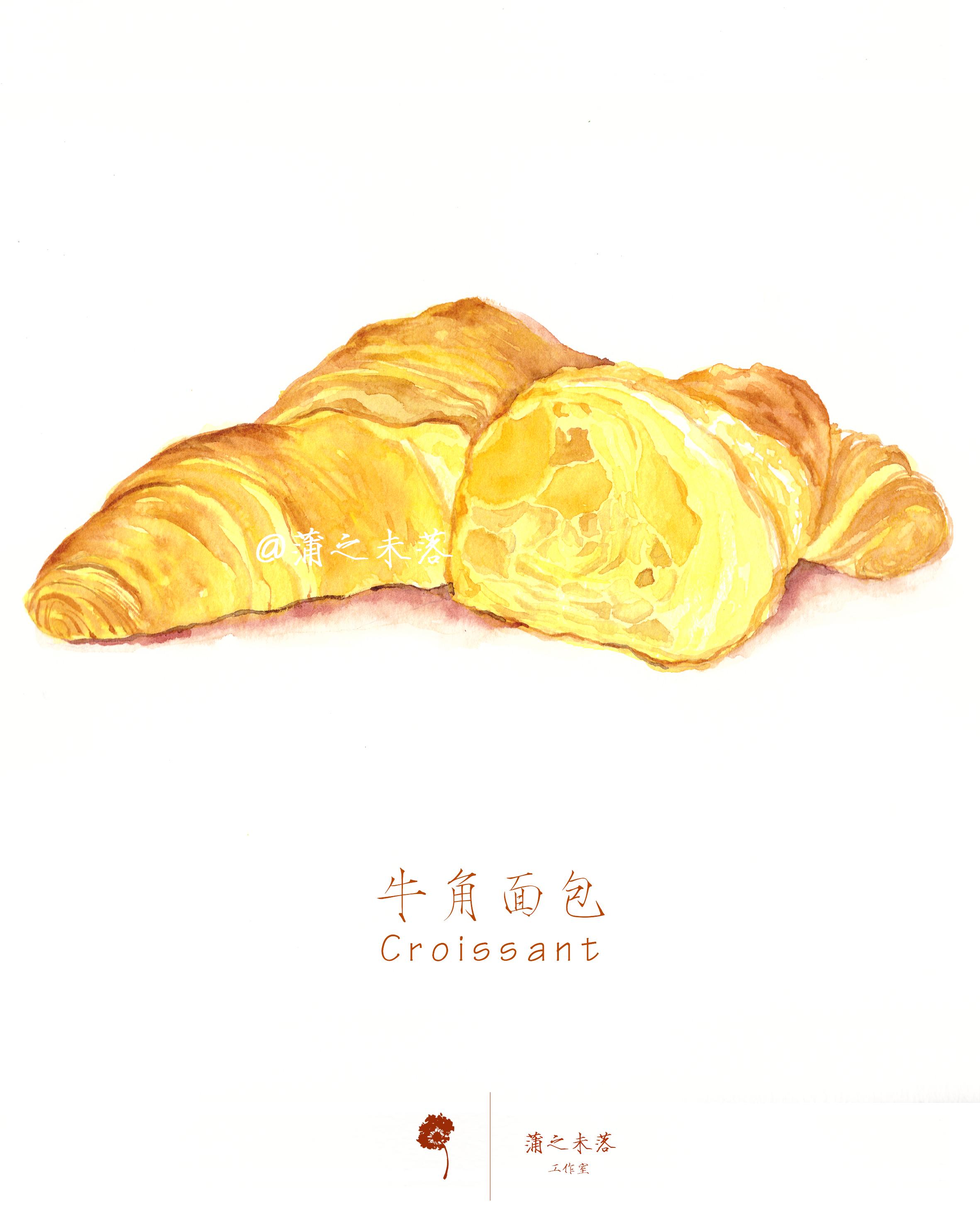 水彩手绘-甜品(牛角面包)