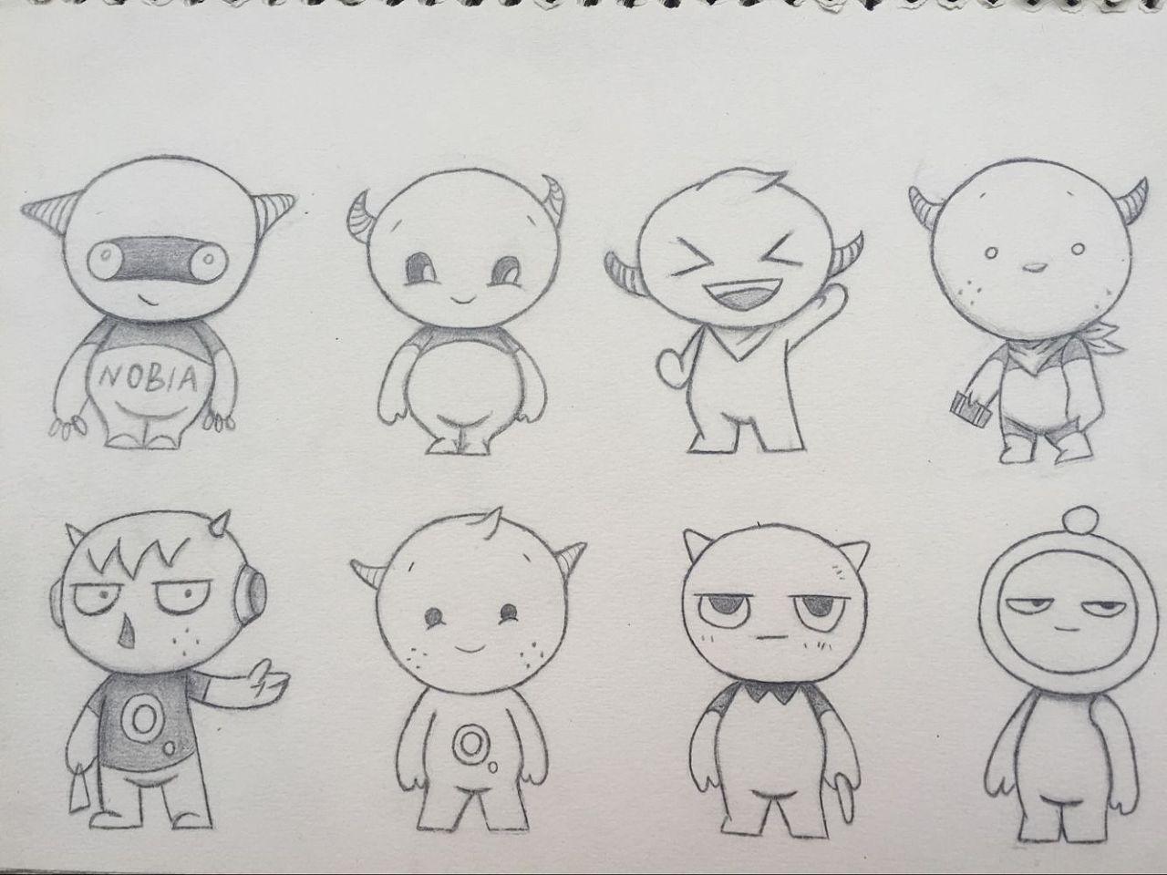 卡通人物线稿素描