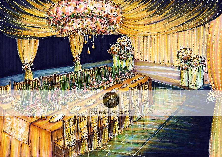 【婚礼手绘】纸面手绘金色厅内效果图|舞台美术|空间