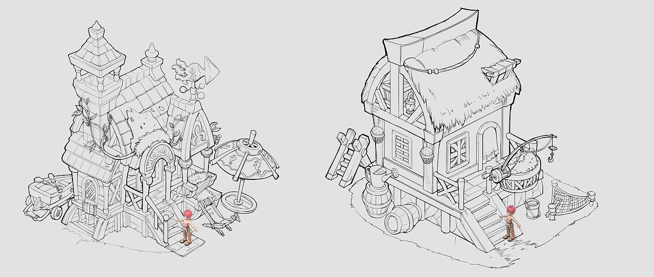 游戏场景单体设计|插画|概念设定|背多分第二版