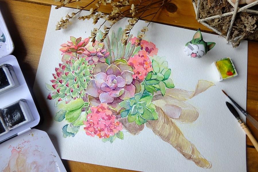 水彩手绘多肉植物/手捧花|商业插画|插画|魂儿