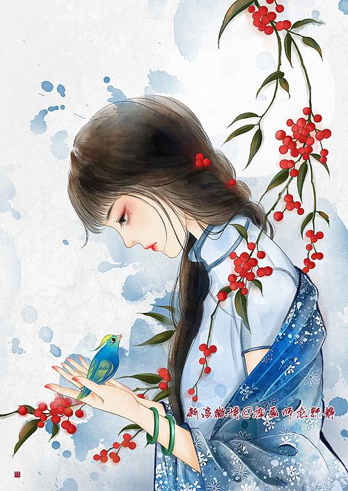 民国少女手绘插画…… 玲珑骰子安红豆,入骨相思