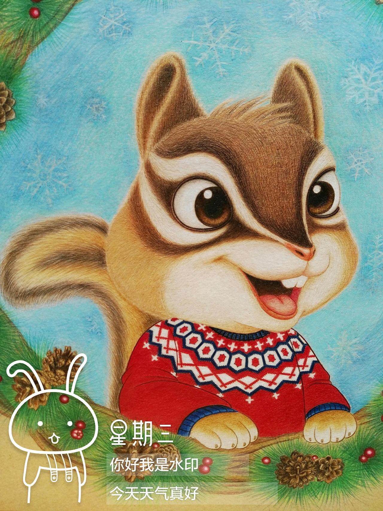 手绘彩铅松鼠