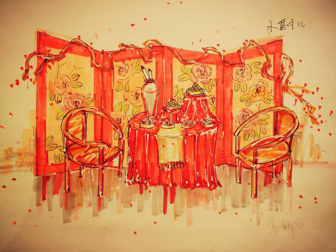 中式主题婚礼设计|空间|舞台美术|_小鱼干儿 - 原创图片