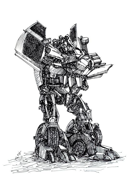 oy逆向钢笔画:变形金刚-刹车