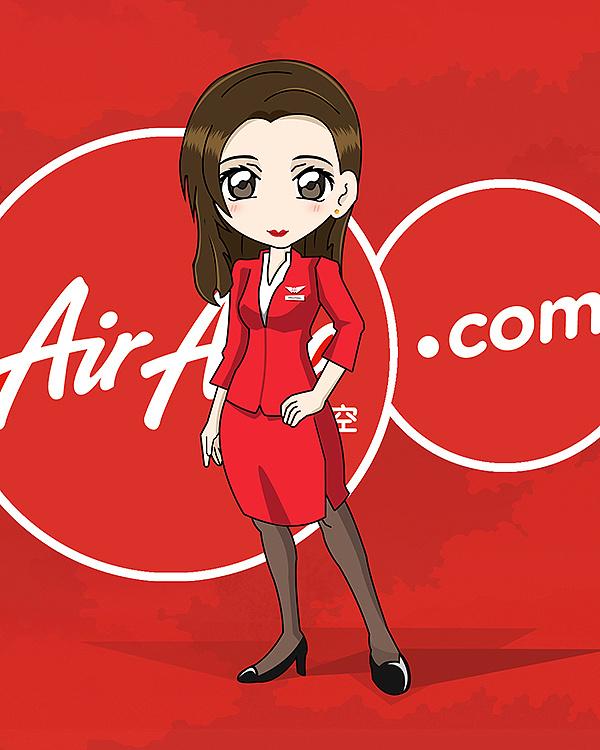 空姐卡通_air asia亚洲航空 亚航空姐手绘卡通形象&h5封面引导图