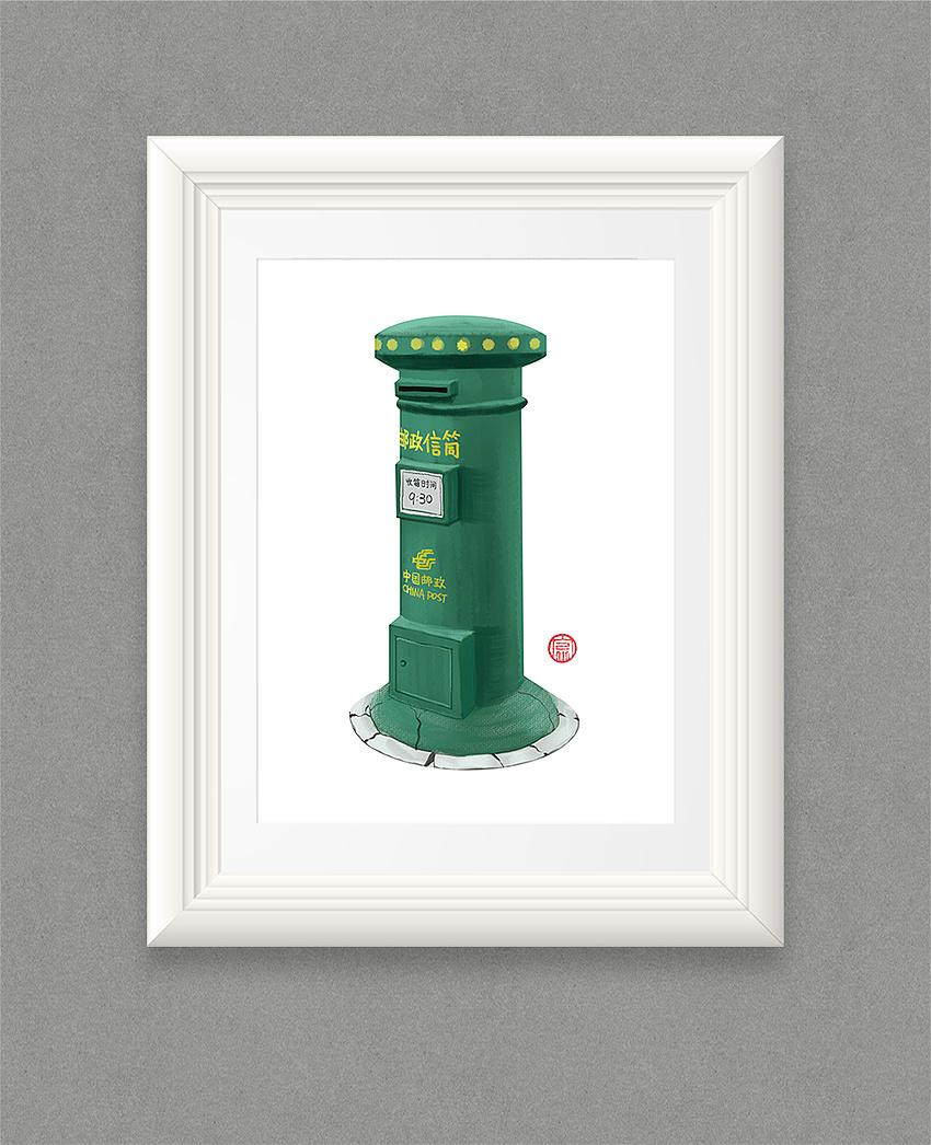 《上班路上的邮筒》手绘板
