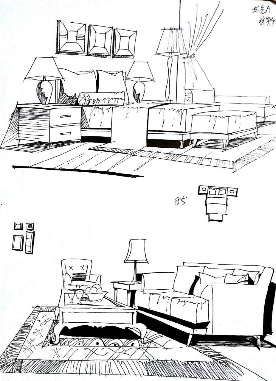 手绘练习|空间|室内设计|林奕华 - 原创作品 - 站酷