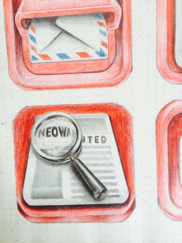 彩铅手绘红色图标|图标|ui|vision顾
