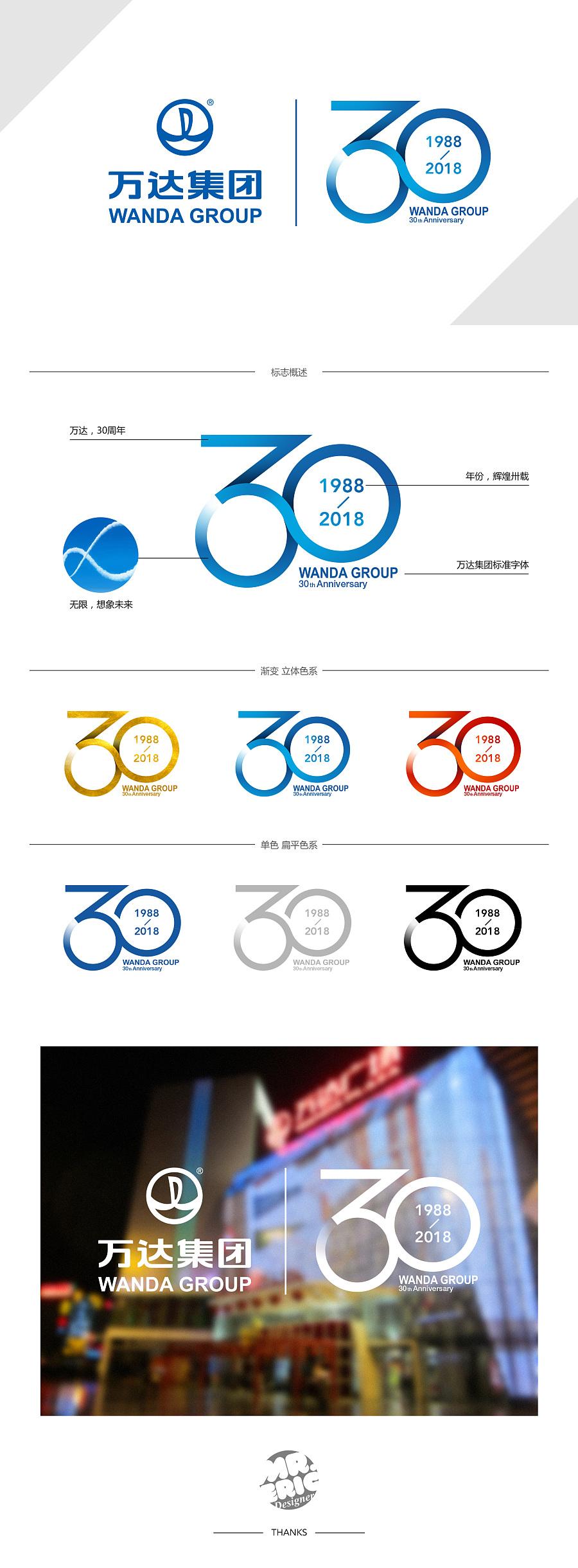 查看《万达30周年logo方案 - 想象无限,卅载辉煌》原图,原图尺寸:1920x5208