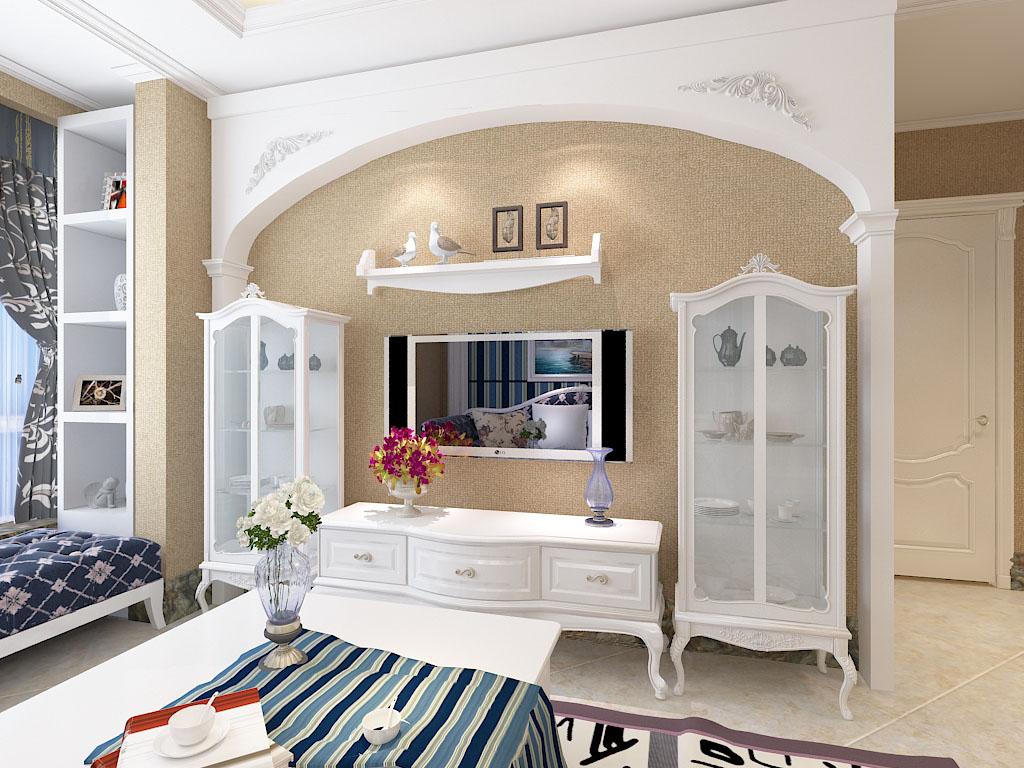 客厅电视背景墙做成圆弧形花纹的雕花石膏线与吊顶石膏线相呼应.