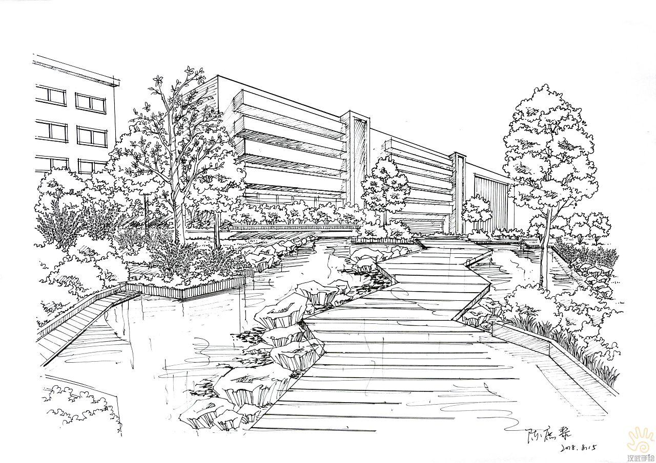 环境景观建筑手绘效果图线稿图