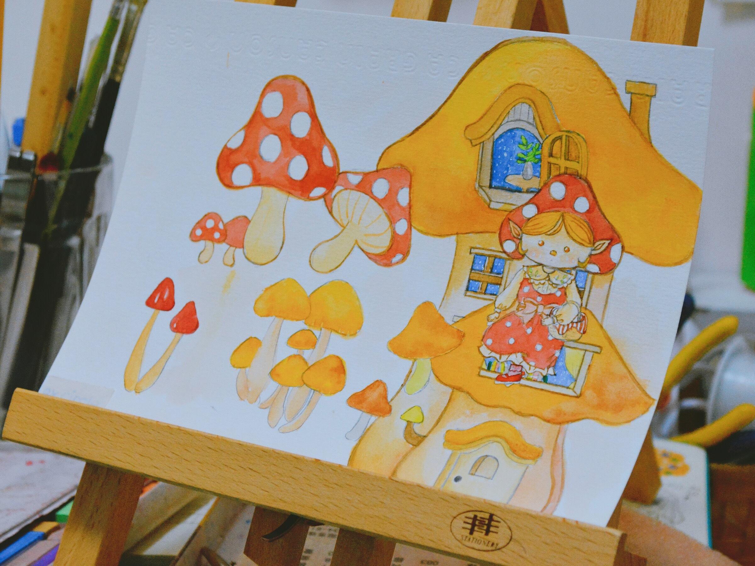 蘑菇精灵水彩手绘