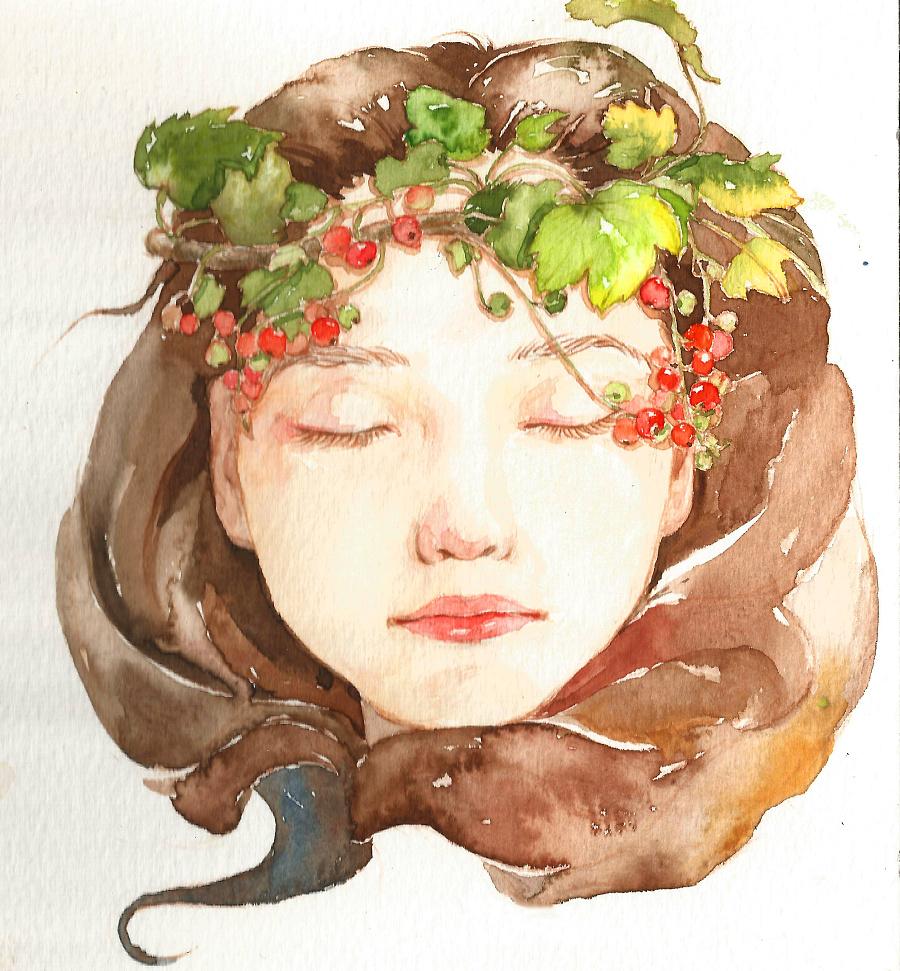 水彩手绘习作·森系女孩|绘画习作|插画|六月柿
