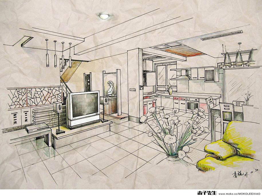 李骁の手绘室内效果图b