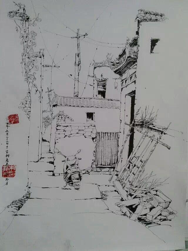 屏山风景手绘线稿