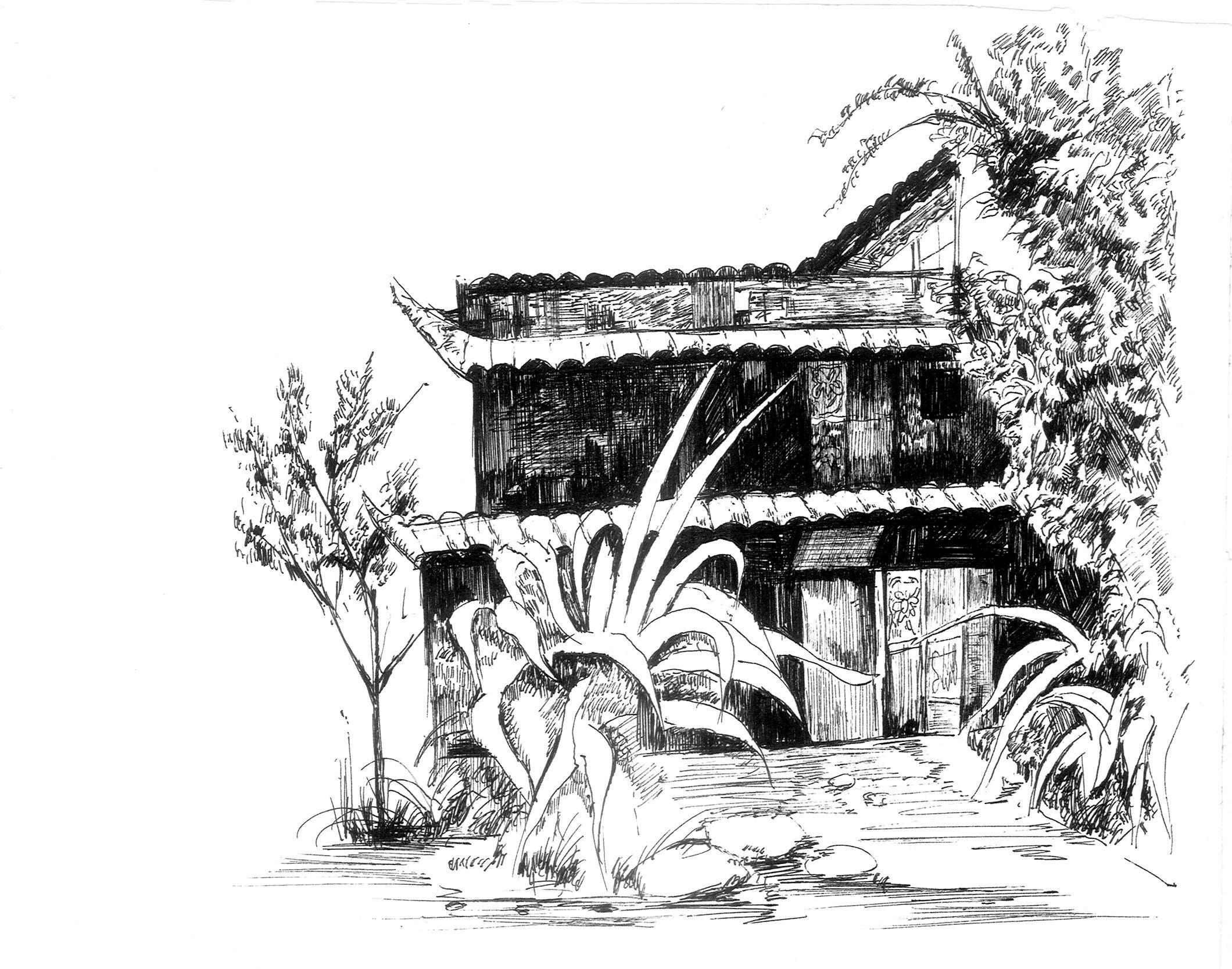 手绘民俗建筑风景